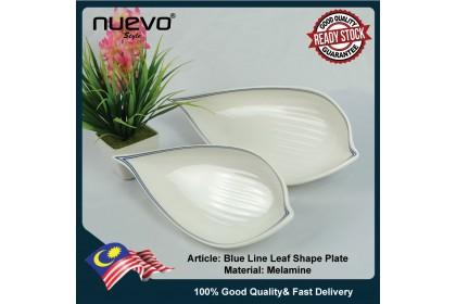 10 Inch Blue Line Melamine Leaf Shape Plate