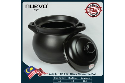 Black Ceramic 2.5L Casserole Pot