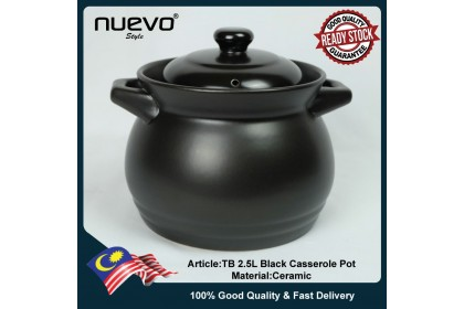 Black Ceramic 2.5L Casserole Pot黑色陶瓷砂锅 Periuk Keramik Hitam