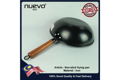 Wooden handle multifunctional Cast Iron Wok