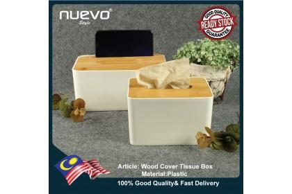 Wooden Cover Plastic Rectangular Tissue Box