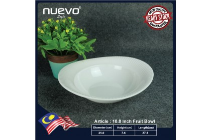 10.8 Inch Modern White Oval Melamine Fruit Bowl