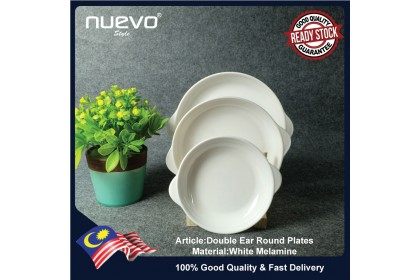 10 Inch White Melamine Double Ear Round Charger Plates