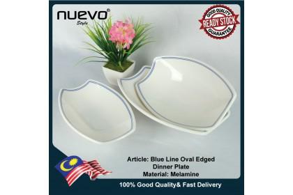 10 Inch Blue Line Melamine Oval Edged Plate