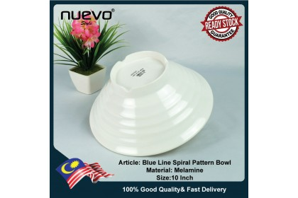 10 Inch Blue Line Melamine Spiral Pattern Bowl