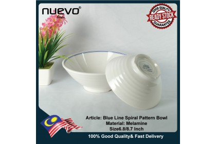 6.8 Inch Blue Line Melamine Spiral Pattern Bowl